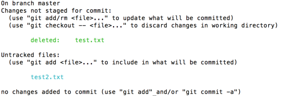 Git status after 'mv'
